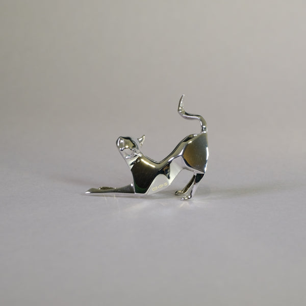 Sterling Silver Mini Stretching Cat Sculpture by Nomi Design