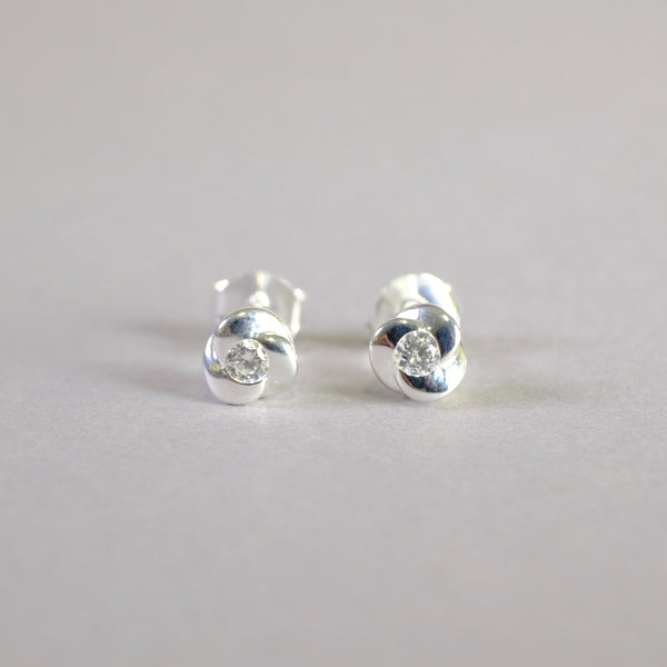 Silver and Cz Knot Stud Earrings by LBJ Designs.