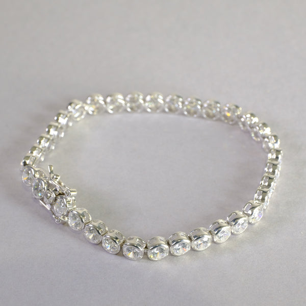 Cubic Zirconia and Silver Bracelet.