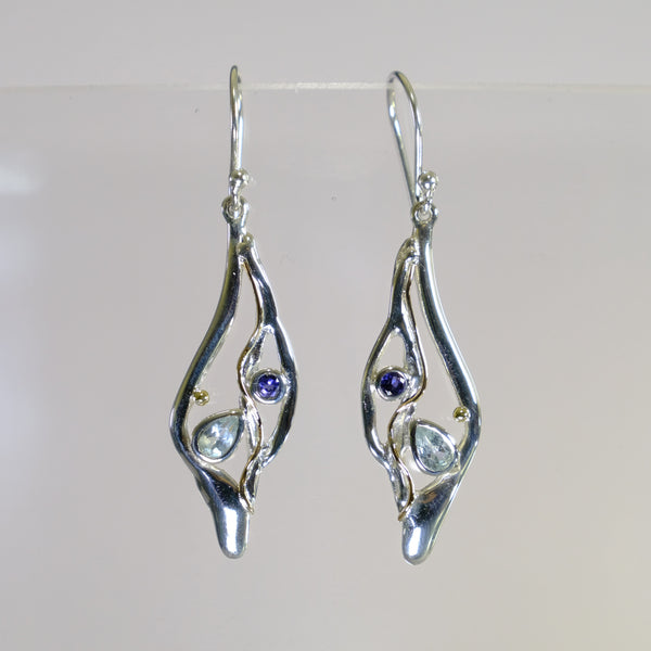 Blue Topaz, Iolite and Silver Drop Earrings.