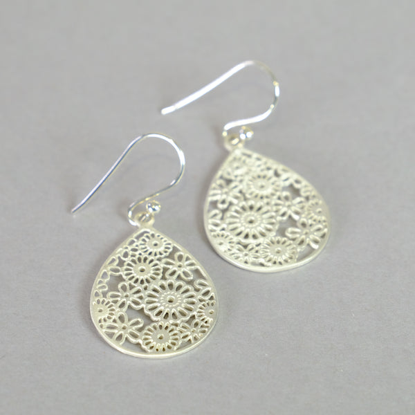 Satin Silver Flower Design Earrings.