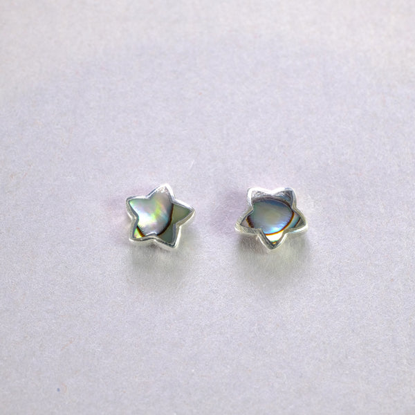 Paua Shell and Silver Star Stud Earrings