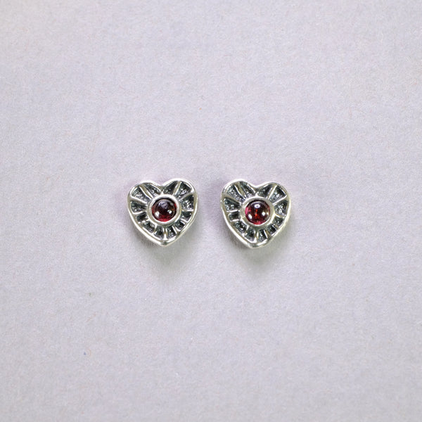 Silver and Garnet Heart Stud Earrings.