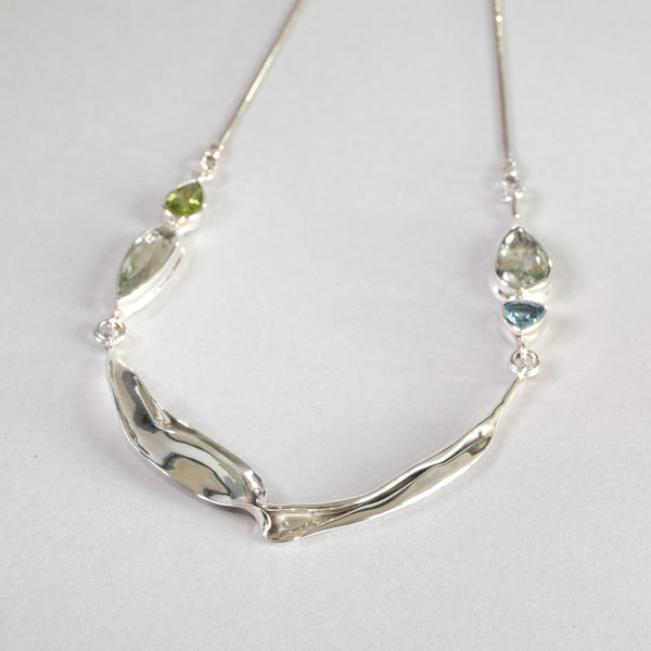 Silver and Green Amethyst, Peridot and Blue Topaz Necklace,