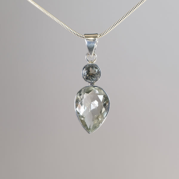Silver and Green Amethyst Pendant.