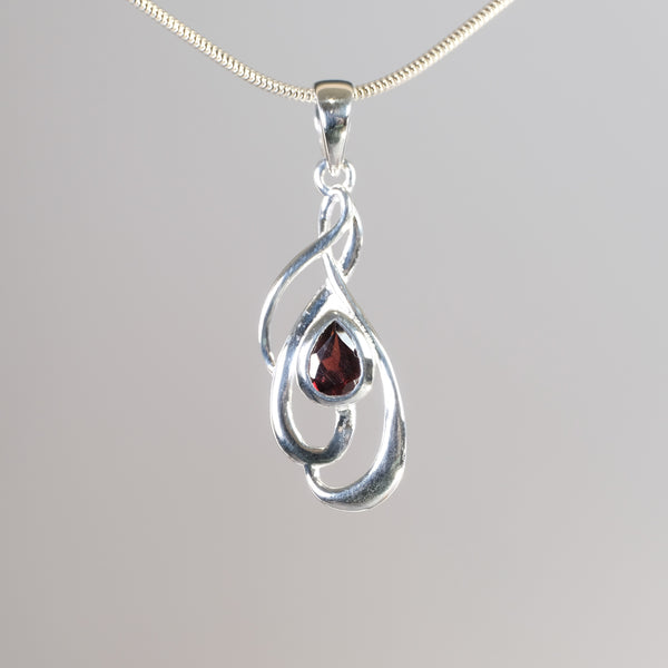 Silver and Garnet Pendant.