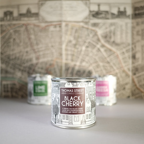 Thomas Street 'Black Cherry' Scented Candle in a Tin.