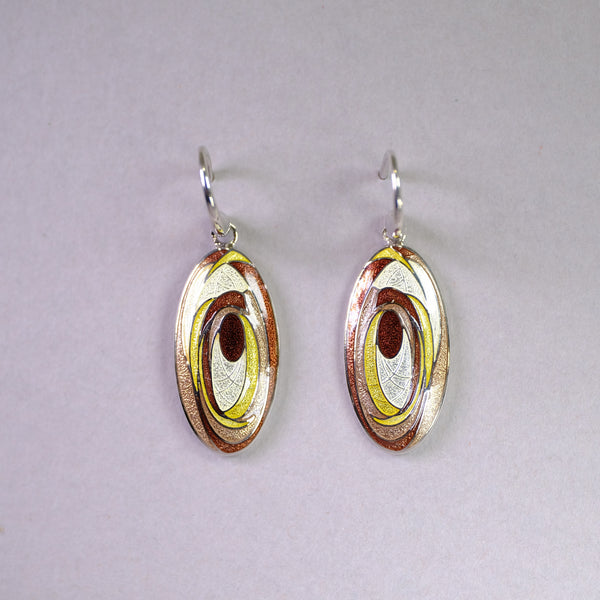 Silver and Brown Enamel Oval Abstract Earrings by Nicole Barr.
