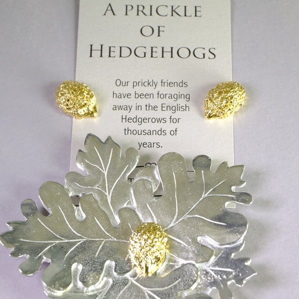 Pewter Leaves Trinket Tray with Hedgehogs.