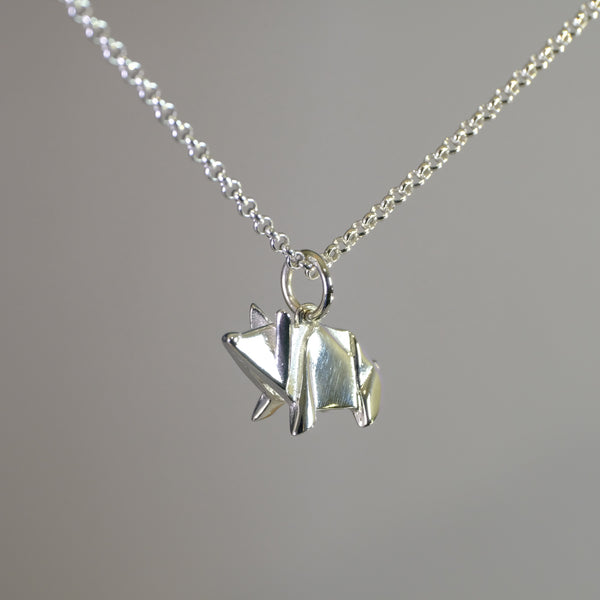 Silver Origami Pig Pendant.
