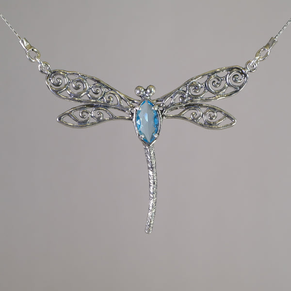 Silver and Blue Topaz Dragonfly Pendant.
