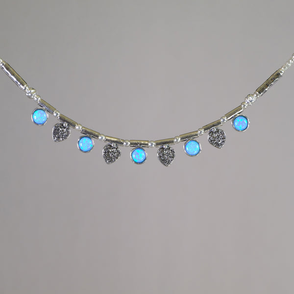 Silver Leaf and Opal Necklace.