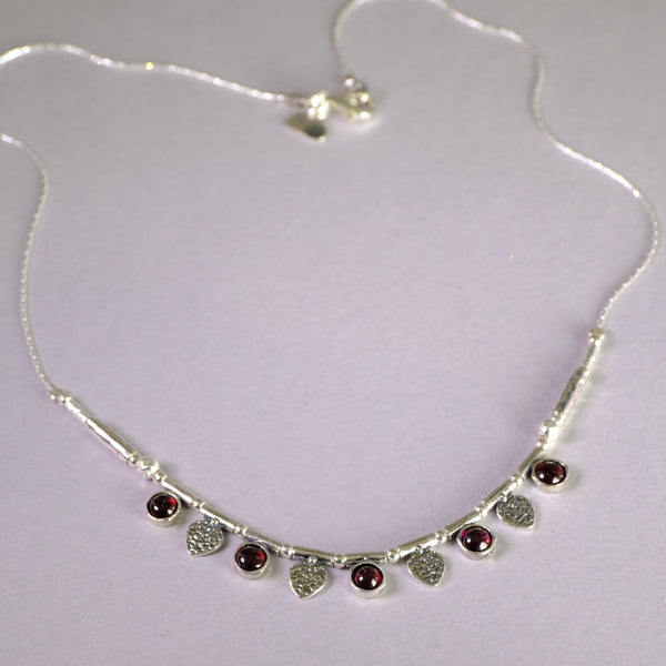 Silver Leaf and Garnet Necklace.