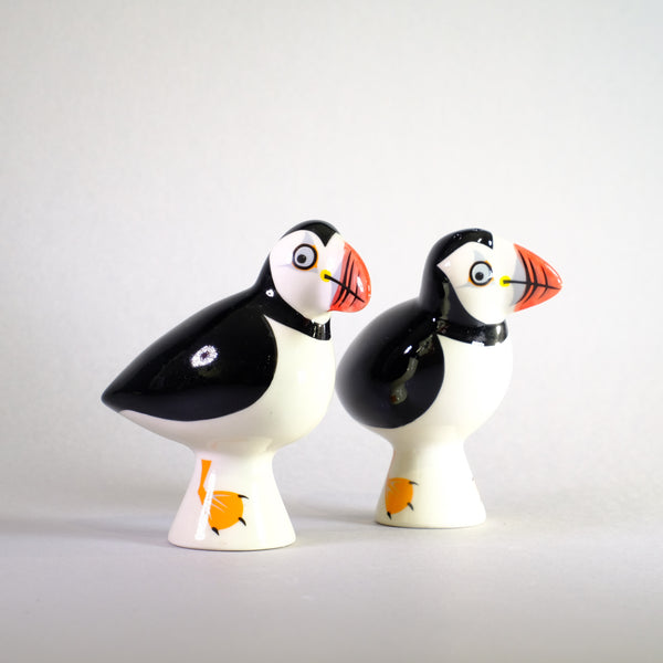 Ceramic Puffin Salt and Pepper Shakers by Hannah Turner.
