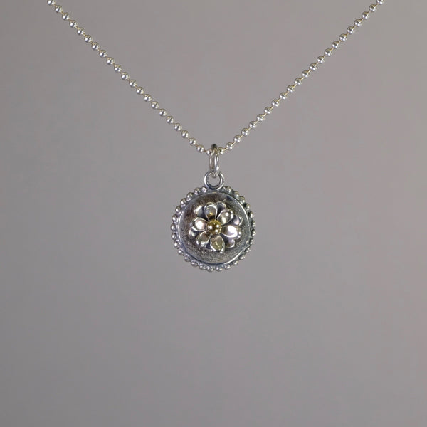 Linda Macdonald Handmade Silver Double Layer Flower Pendant.