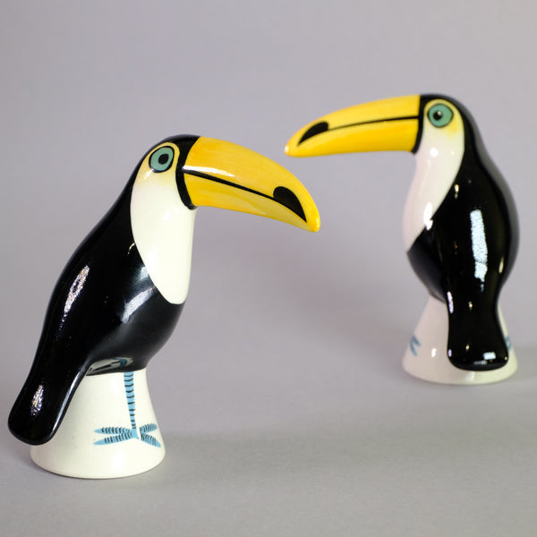 Ceramic Toucan Salt and Pepper Shakers by Hannah Turner.