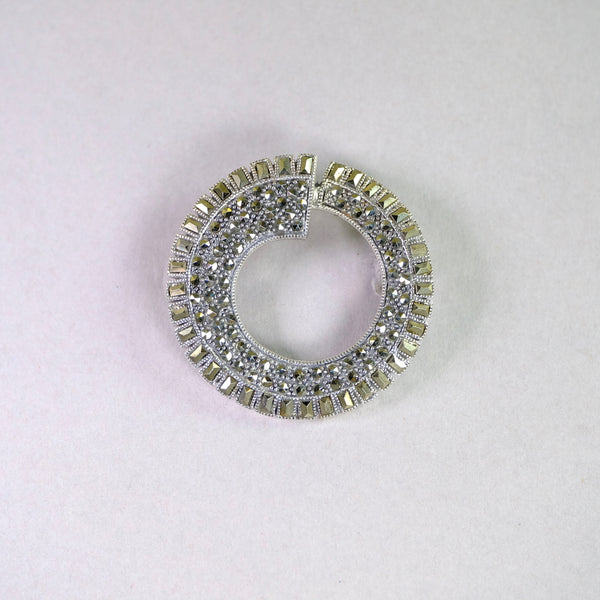 Marcasite and Silver Art Deco Style Brooch.