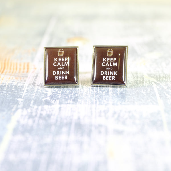 Keep Calm and Drink Beer Cufflinks.