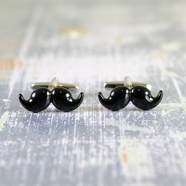 Black Moustache Cufflinks.