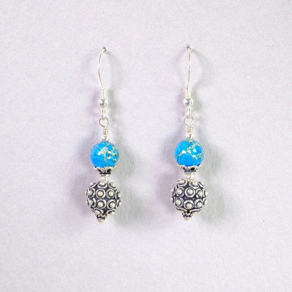 Silver and Blue Agate Handcrafted Earrings.