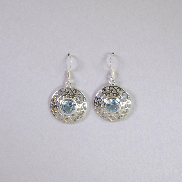 Silver and Blue Topaz Drop Earrings.
