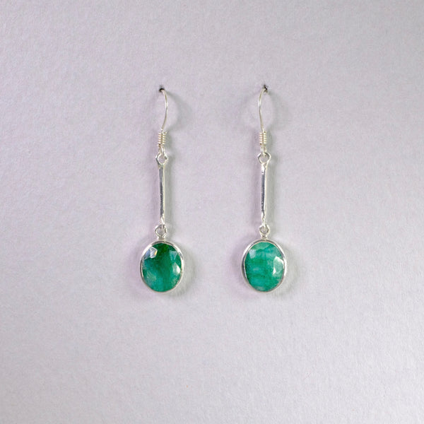Silver and Emerald Quartz Earrings.