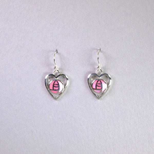 Pink Shell and Silver 'Mackintosh' Heart Earrings.