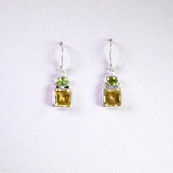 Silver, Citrine and Peridot Drop Earrings.