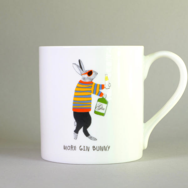 Bone China 'More Gin Bunny' Mug by Sally Scarffadi