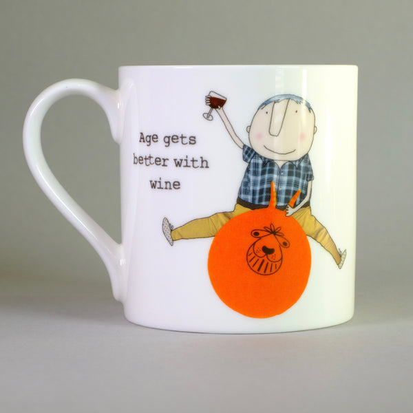 'Age Gets Better with Wine' by Rosie Made a Thing,Bone China Mug.