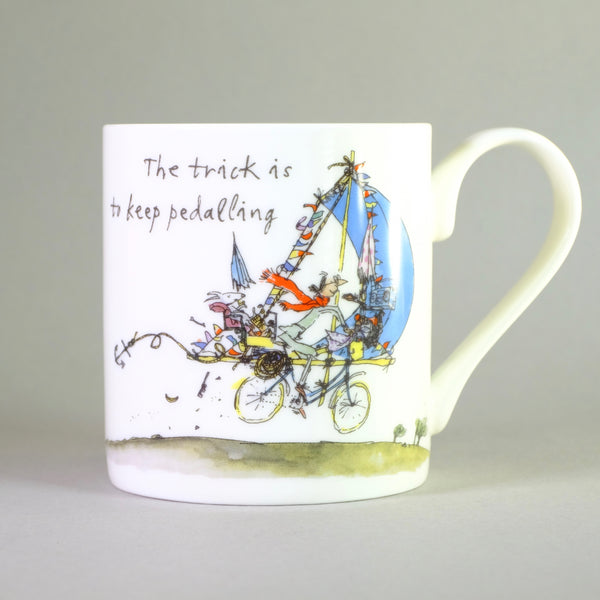 'The Trick is to Keep Pedalling' by Quentin Blake Bone China Mug.