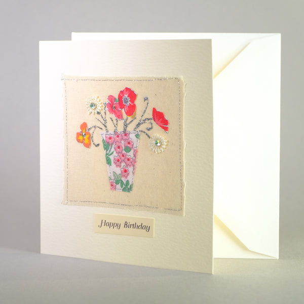 Happy Birthday Embroidered Card.