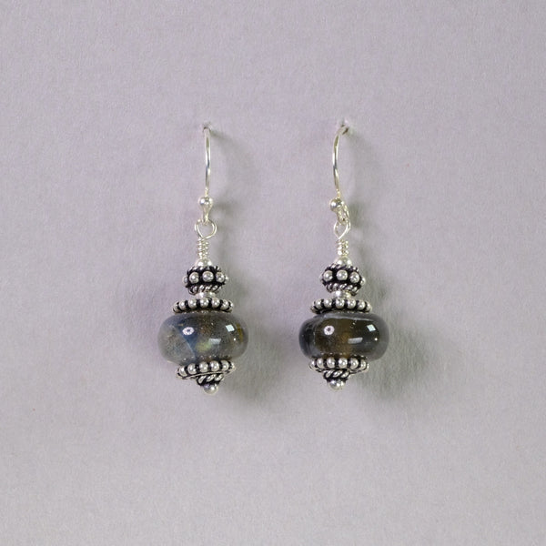 Silver and Labradorite Earrings.