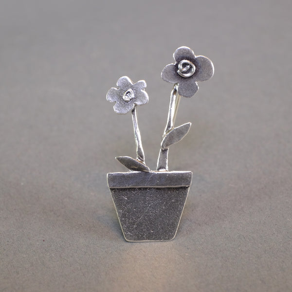 Silver Flowers in Pot Brooch