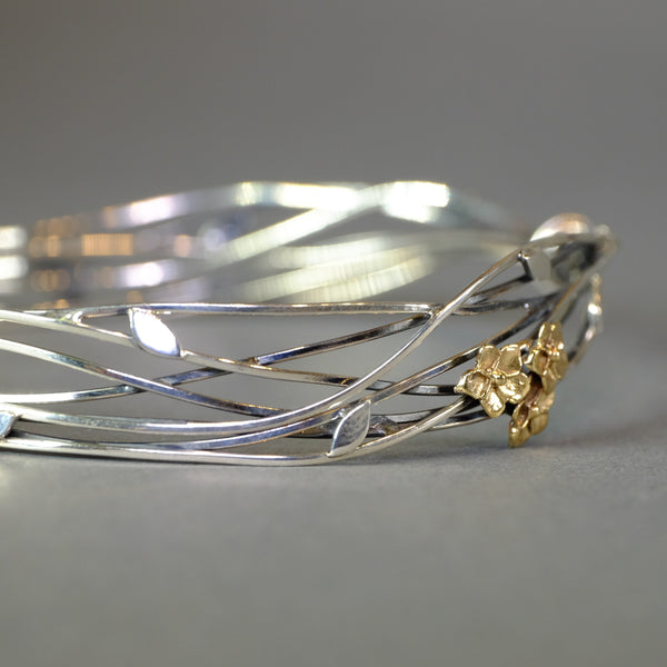 Linda Macdonald Floral Entwined Silver Bangle.