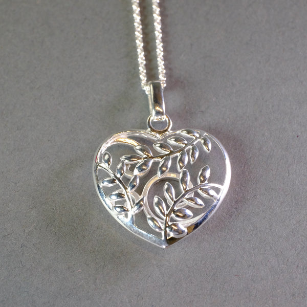 Silver Decorated Heart Shaped Pendant by 'Unique'