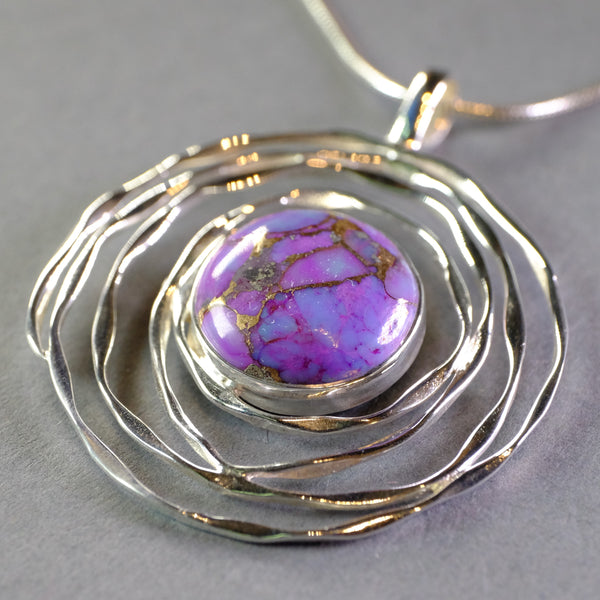 Silver Swirl and Purple Mojave Turquoise Pendant.