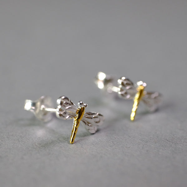 Silver Dragonfly Stud Earrings.