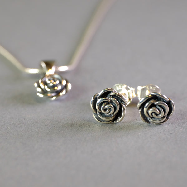 Silver Rose Stud Earrings by LBJ Designs.