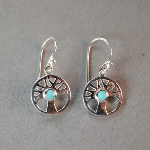 Silver Tree Design Earrings  with a Turquoise Stone.