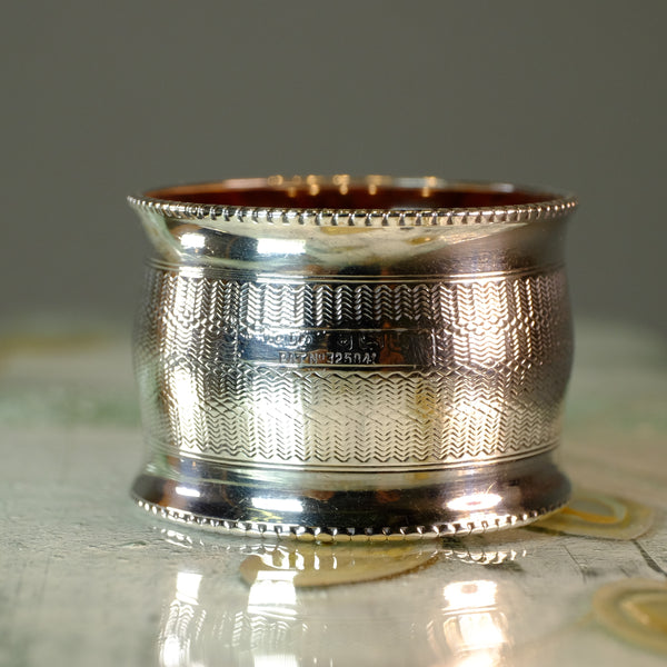 Single Vintage Silver Napkin Ring, with Bakelite.