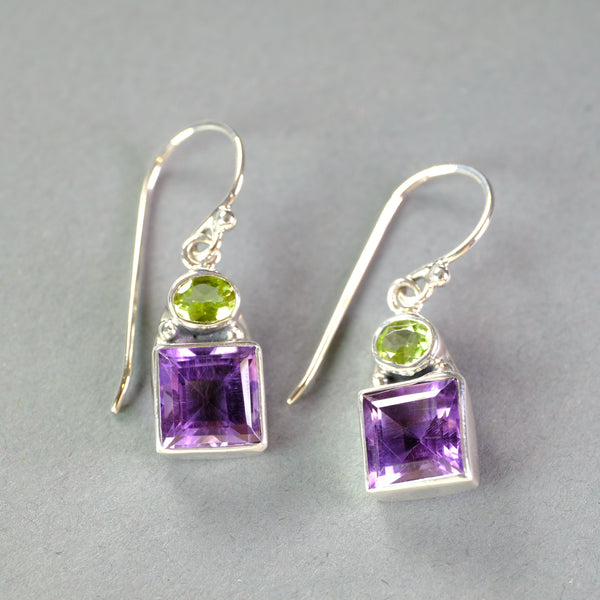 Silver, Amethyst and Peridot Drop Earrings.