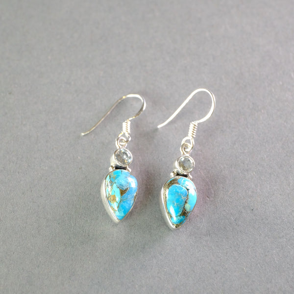Silver,Turquoise and Blue Topaz Earrings