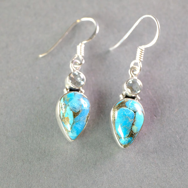 Silver and Turquoise and Blue Topaz Earrings