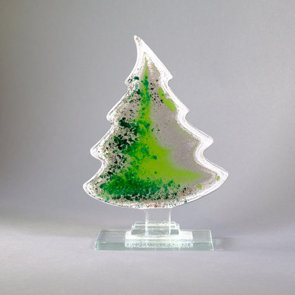 Green Fused Glass Christmas Tree.