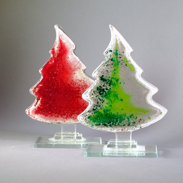 Fused Glass Christmas Tree, Red