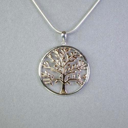 Silver and Rose Gold 'Tree of Life' Pendant by 'LBJ Designs'
