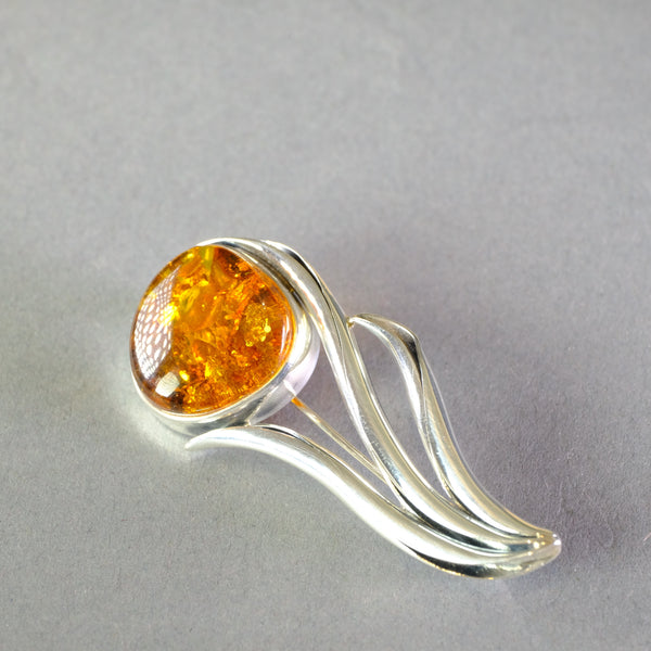 Silver and Amber Flower Design Brooch.