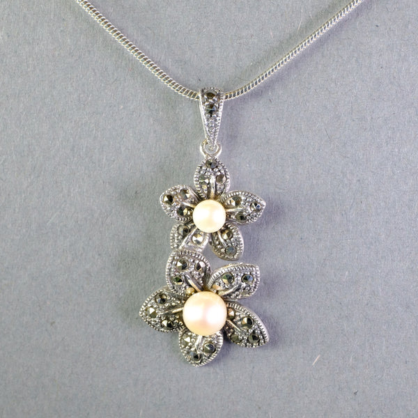 Silver, Marcasite and Pearl Flower Pendant