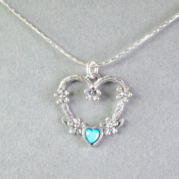 Silver and Opal Heart Pendant.